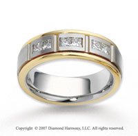 14k Two Tone Gold 6.5mm FCF .30  Carat Diamond Anniversary Band
